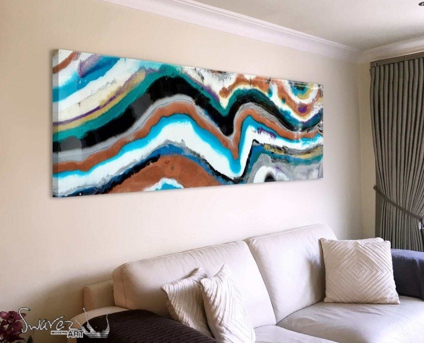 Abstract painting like rock strata in living room