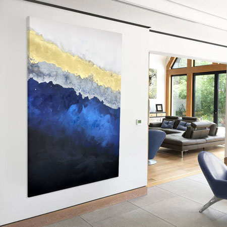 blue-gold-art-in-living room