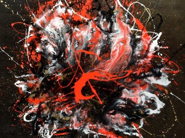 red white and black abstract art
