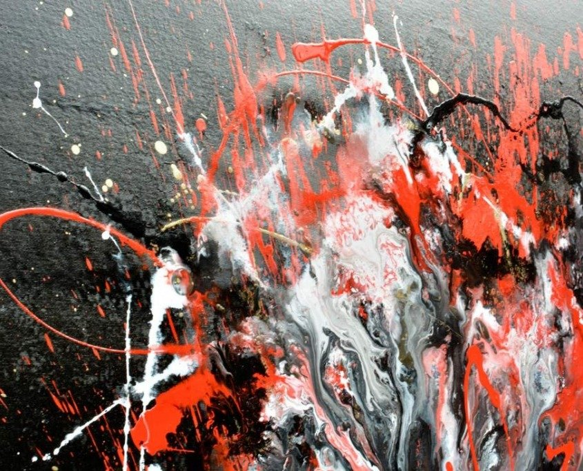 white and red splash paint on canvas