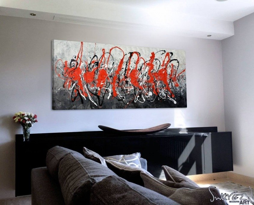 Black-and-red-contemporary-painting-in-a-living-room