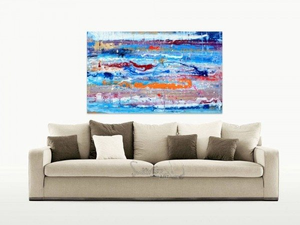 Small blue original painting and a taupe sofa
