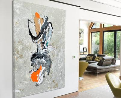 orange modern art and champagne base