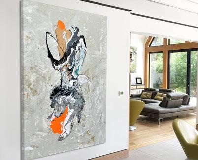 orange modern art and champagne base