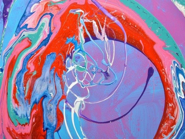 pink and bue abstract painting