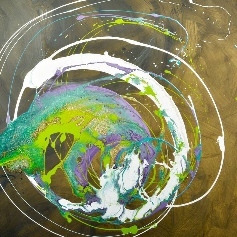gold green and purple art