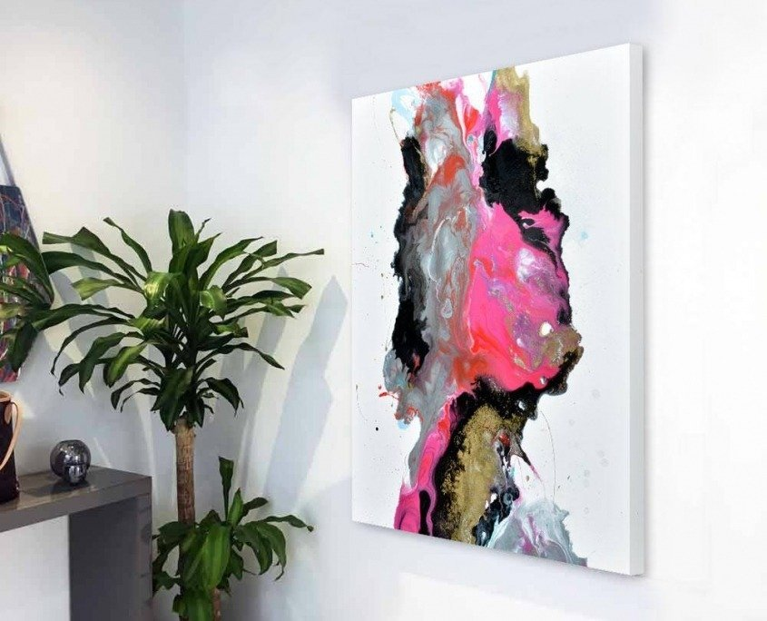 pink and gold abstract painting