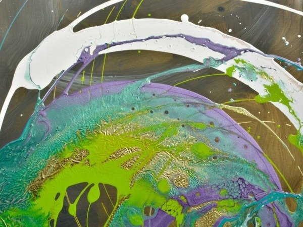 purple and green canvas art