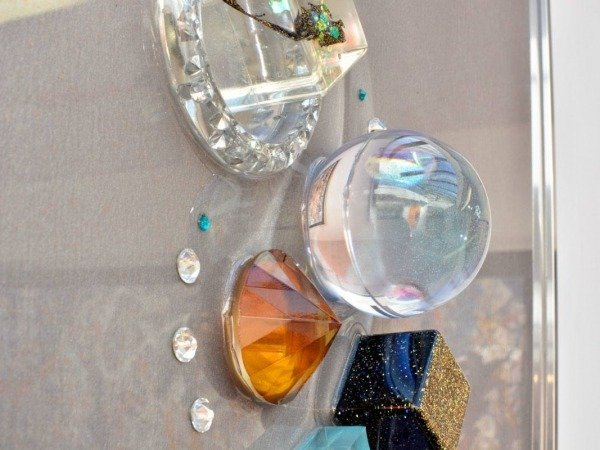 resin sphere and crystals