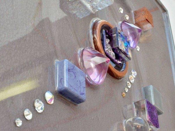 rhinestones and resin blocks