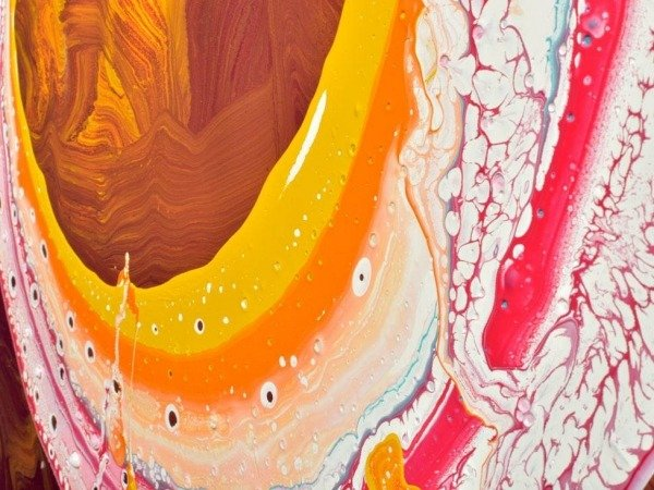 yellow and red paints on canvas
