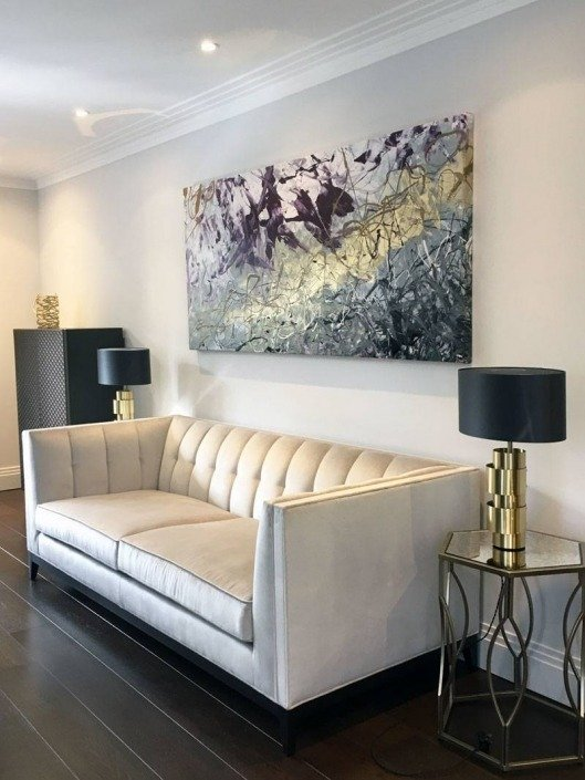 remarkable modern purple living room | Real paintings hanging in real homes across the world; get ...