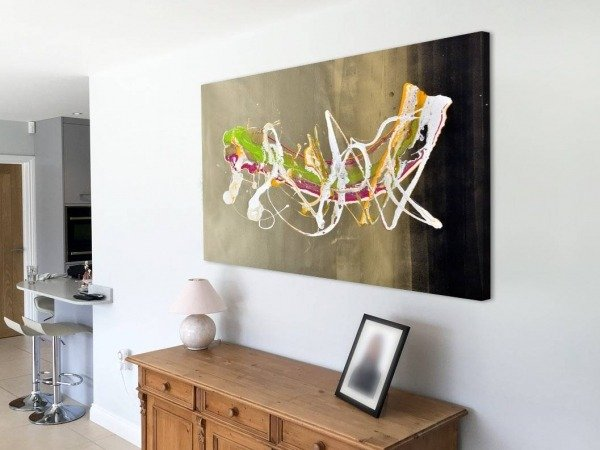 landscape abstract art above console table