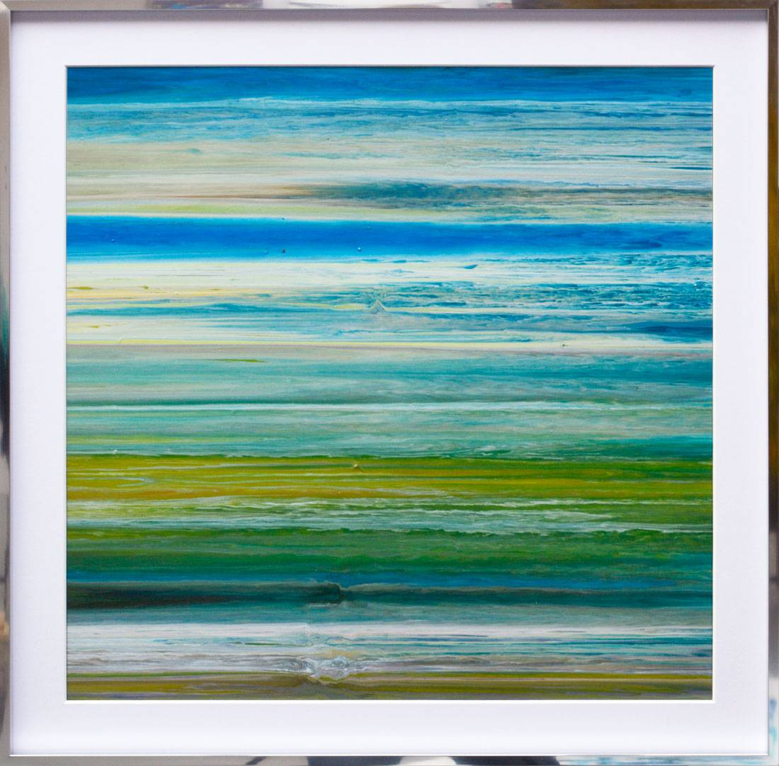 green and blue horizontal lines painting