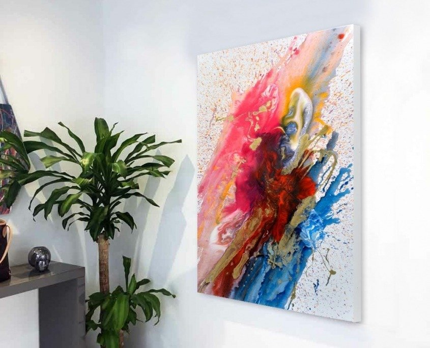 abstract art painting in hallway