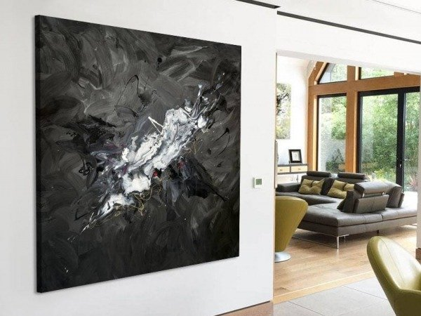 black and grey art in living space