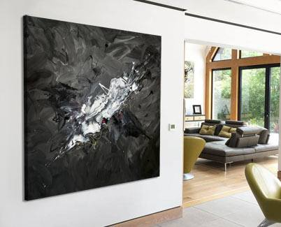 grey and black abstract art painting