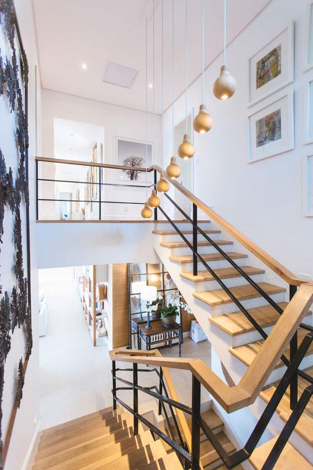 wood staircase in a modern self build home