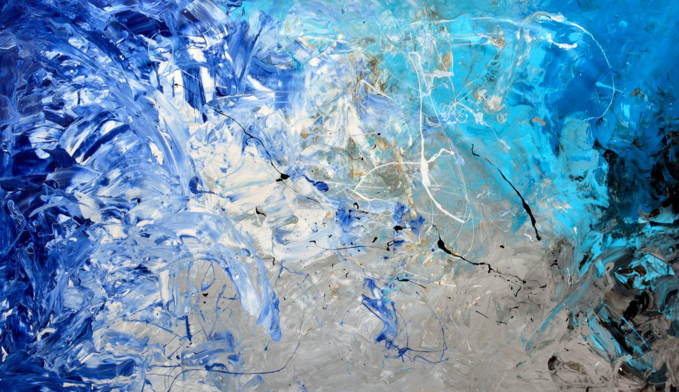 large blue and silver art
