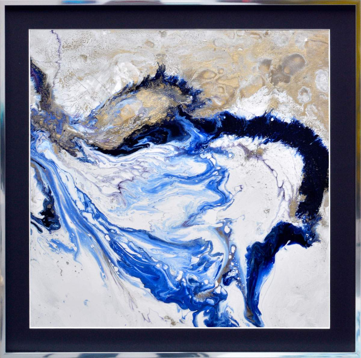 small blue and white abstract art