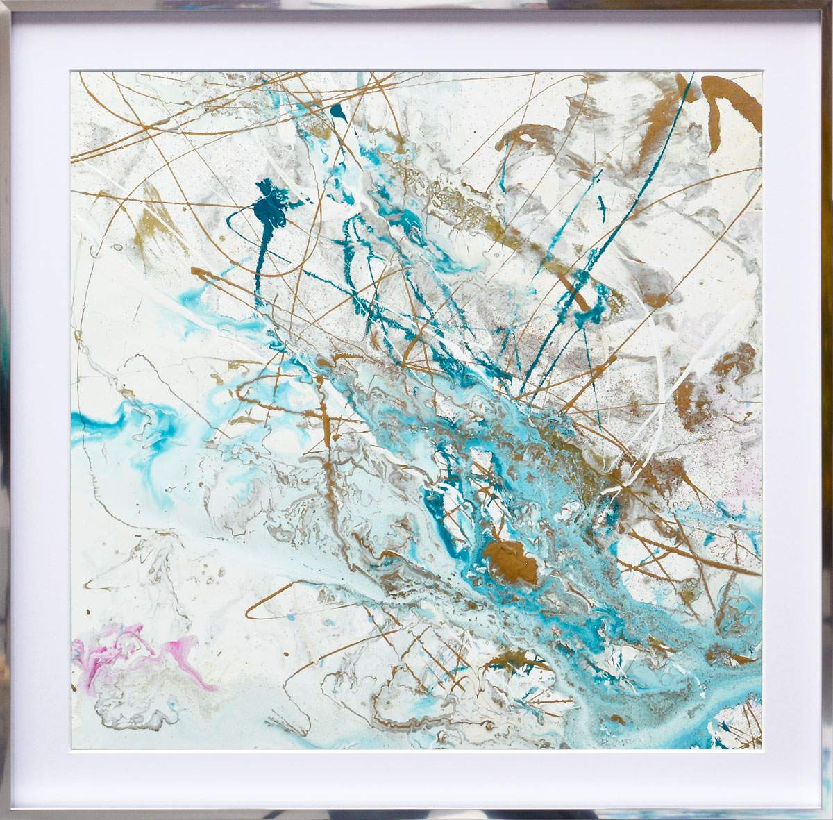 turquoise and white square painting