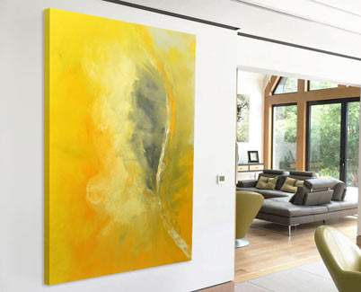 yellow abstract art painting