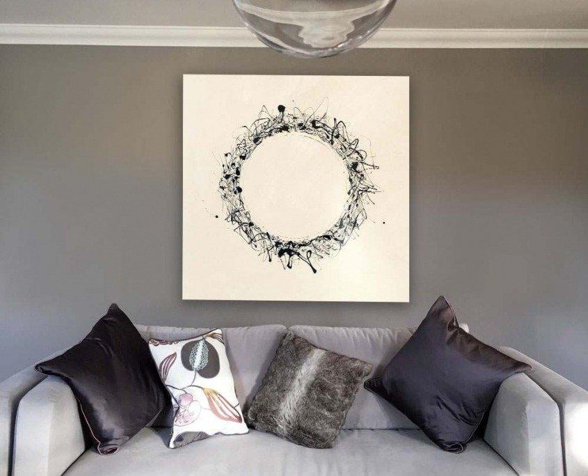 black and white circle on camvas