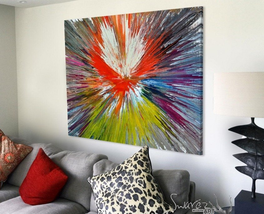 spin art above sofa