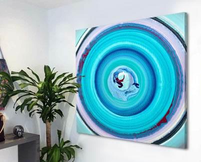 blue circular painting