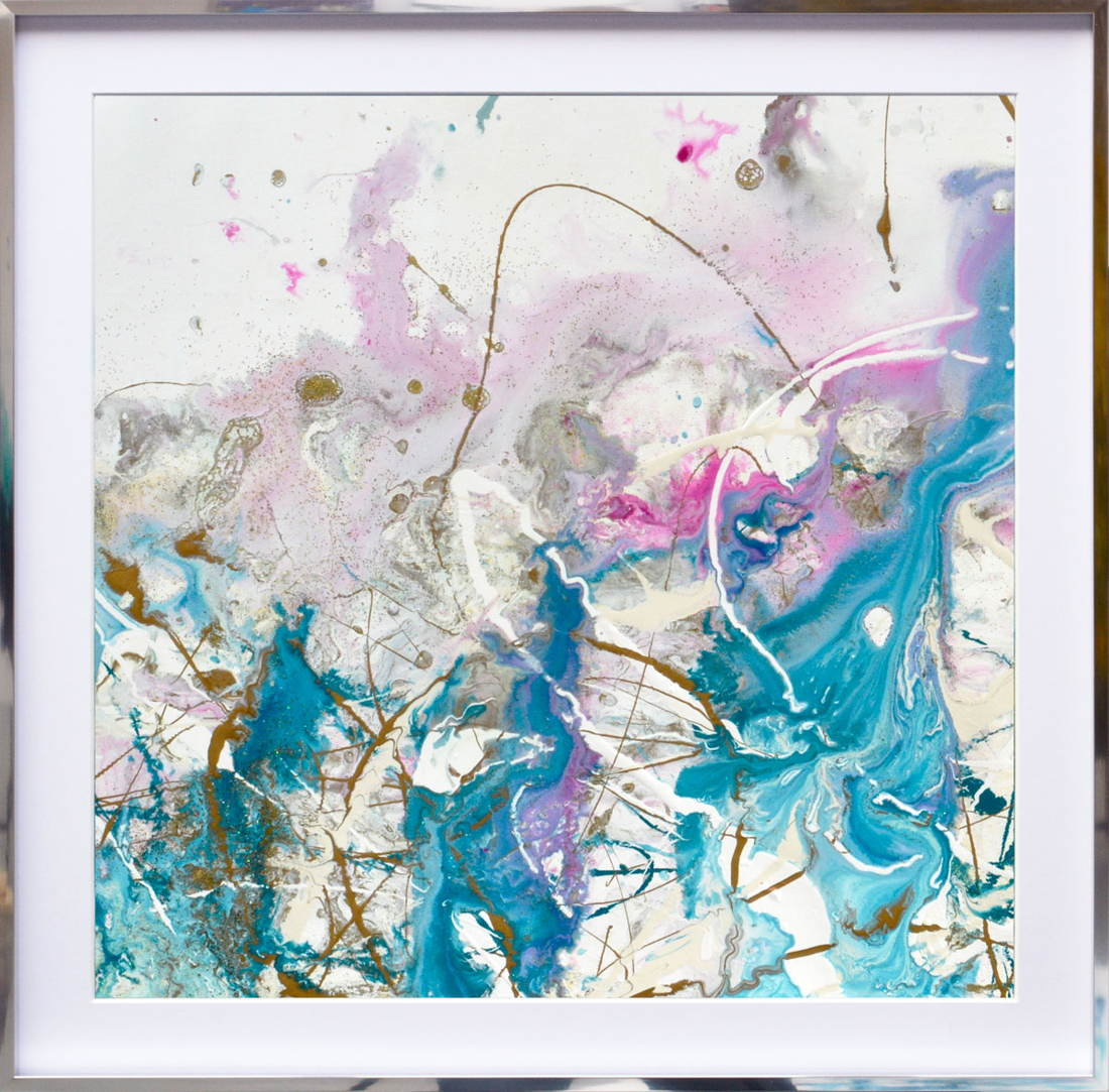 turquoise and pink abstract art