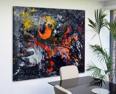 black and orange and yellow painting