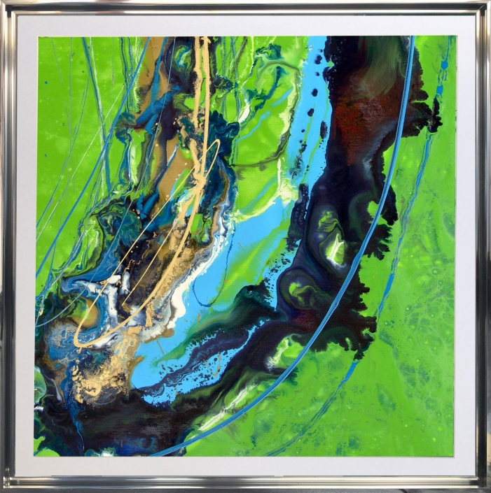 blue green gold square modern art painting