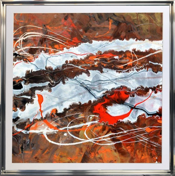 chocolate brown abstract art in frame