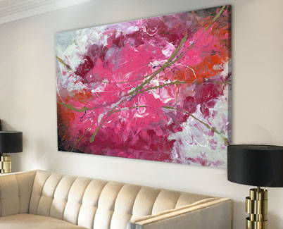pink and gold large painting