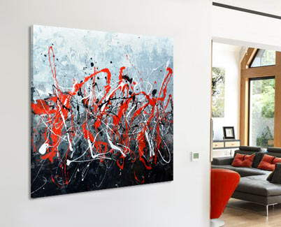 red black and white abstract painting