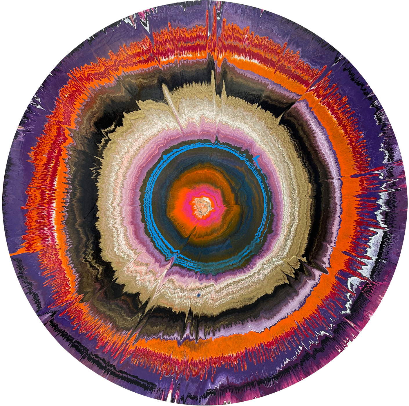 large round contemporary painting