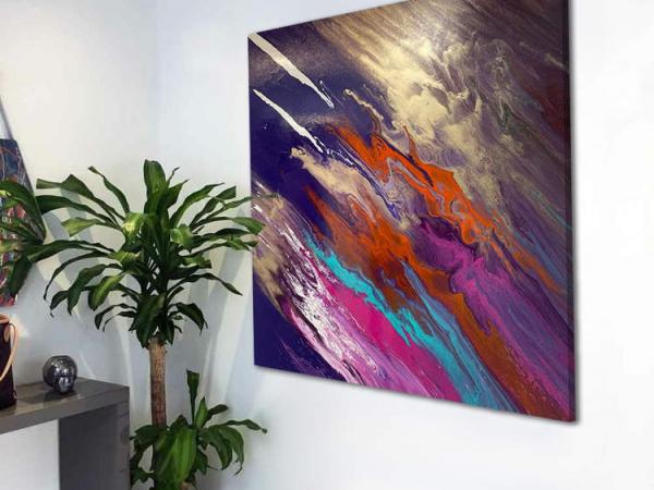 purple and orange square painting